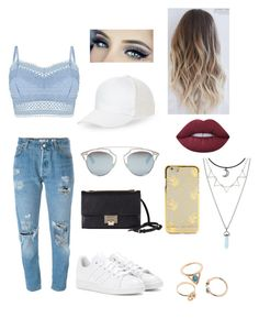 """travel xx"" by tms3118 ❤ liked on Polyvore featuring BCBGeneration, Lipsy, Levi's, adidas, Jimmy Choo, Christian Dior and Lime Crime"
