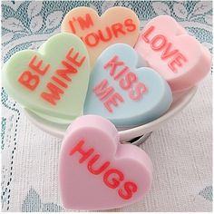 Conversation Hearts Five Valentine Soaps by SoStinkingSweet, $15.00