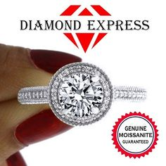 1/2 Ct Brilliant Cut Genuine Moissanite & White Topaz 14K Gold Halo Engagement Ring. Starting at $25