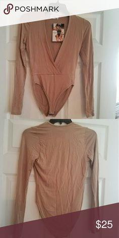 Bodysuit Naked Wardrobe nude low cut bodysuit Naked Wardrobe Tops