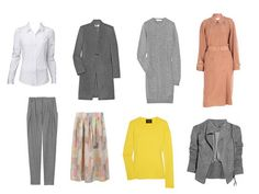 """The eight extras in a well-dressed wardrobe"":    A white cotton shirt  a pullover sweater  a full or pleated skirt  pleated trousers  a simple sweater dress  a trenchcoat  a black leather blouson  a heavy coat"
