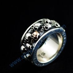 Steampunk large full engraving 3D skull ring by StarJewellry