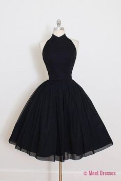 Vintage Short Prom Dress, Black Prom Dress, Simple Prom Dresses, Black Short Prom Dress, Ball Gown, Black Short Evening Dress, Party Dress PD20186624