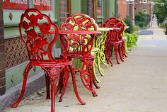 Anticipation, Dining Wall Art, Sidewalk Cafe Photograph, Street Scene, Red and Green Table, Chairs , Color Art Print, Photograph, Cityscape