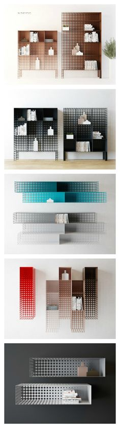The pegboard graphic-like holes on these modern pieces makes it look like it fades into the wall. Design Furniture, Cool Furniture, Modern Furniture, Shelf Design, Furniture Inspiration, Home Interior, Architecture Design, House Design, Home Decor