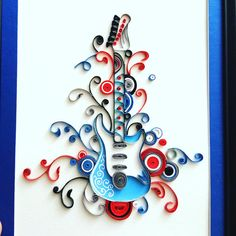 Blue quilled Guitar art  Guitar decor  Guitar by IvyArtWorks