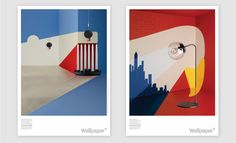 Gloss posters by Noma Bar - 3-D room sets featuring actual design products, painted and shot to look like flat illustrations. Commissioned by Wallpaper magazine.