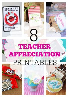 Teacher Appreciation Printables! Lots of really cute ideas to say thank you for growing your kids this year.