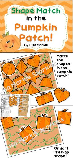 Shape match in the pumpkin patch! This matching game can be used in many different ways according to your students' skill levels! It can be a small group preschool activity or a math center activity. You can have your students match individual shapes to the shapes in the pumpkin patch sheet, or you can print out multiple copies of all the pumpkin shapes and have them sort them onto the sorting sheets! Color and black and white versions are both included!