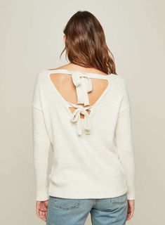 e9c48e52d1f0b Cream Tie Back Knitted Jumper - Tops - Clothing