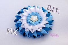 ЦВЕТОК Канзаши из атласных лент / DIY Kanzashi flower ribbon/ Djuce Julia