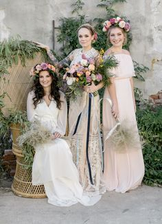 boho '70s-inspired bridesmaids