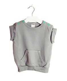 """Designer Baby Clothes - Organic Cotton Baby Clothing - As funky as they come! We're in love with this baby unisex jogger top by Broken Tricycle!  Features loose, """"slouchy"""" fit and roll sleeves and is made from 100% super soft organic cotton.  #designerbaby #babyfashion #babyclothes #organiccotton #brokentricycle #littlebooteek"""