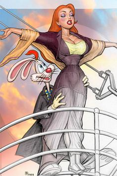 """Jessica Rabbit is the loving wife of Roger Rabbit. She appears to be a villain but says she is """" not bad, I'm just drawn that way"""". Jessica And Roger Rabbit, Jessica Rabit, Cartoon Art, Cartoon Characters, Rabbit Art, Doja Cat, Sexy Cartoons, Illustrations, Fun Illustration"""