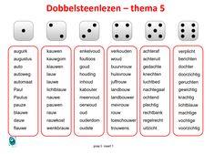 Dobbelsteenlezen groep 5, spellingswoorden thema 5 Taal Actief. Summer School, Spelling, Circuit, Coaching, Homeschool, Letters, Education, Dyslexia, Homeschooling