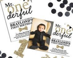 Mr. ONEderful Birthday Invitation  Mr One-derful by PuggyPrints