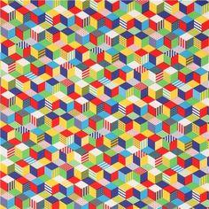 Tissu Oxford avec des cubes jaunes, rouges, verts, multicolores oar Kokka
