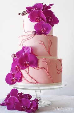 RADIANT ORCHID Wedding Cake by The Pastry Studio.......