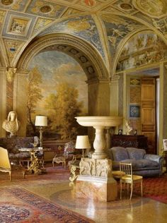 The Sala della Fontana takes its name from the Renaissance period basin, and is placed in a room enriched by frescos by Pinturicchio (who also painted the Borgia Rooms in the Vatican) Palazzo Colonna, Rome  Photograph by Mario Ciampi