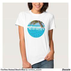 Caribea Animal Beach Blue Tee Shirts