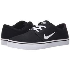 Nike SB Portmore Canvas (Black/White 2) Men's Skate Shoes ($65) ❤ liked on Polyvore featuring men's fashion, men's shoes, men's sneakers, mens low top basketball shoes, mens skate shoes, mens low tops, mens sneakers and nike mens sneakers