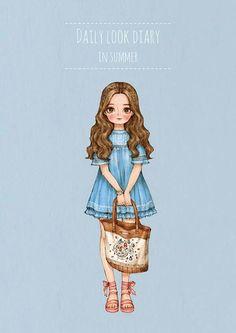 """애뽈 (Aeppol), """"Daily Look Diary in Summer"""" Girl Cartoon, Cartoon Art, Mode Poster, Forest Girl, Vintage Paper Dolls, Illustration Girl, Illustrations, Kawaii Girl, Daily Look"""