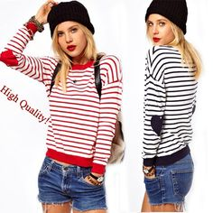 Winter 2014 Striped Hearts Pullovers Knitted Sweaters Women Tricotado Long Sleeve Knitwear Red Blue White Casual Coat Sportswear Now only $14.15