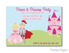 Prince and Princess Party Invitations Princess Birthday Party Invitations Girls Princess Birthday Invitations, Disney Princess Birthday, Princess Tea Party, Tea Party Invitations, Prince And Princess, Prince Party, Princess Theme, Invitation Ideas, Shower Invitation