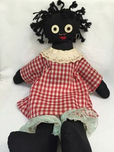 Black Americana Folk Art Vintage Rag Doll - Red Gingham Dress With Braided Hair