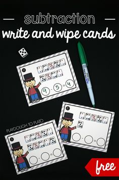 Free Write and Wipe Subtraction Cards! Roll the die, cross off that many cards and write the problem at the bottom. Fun first grade math center or subtraction game.