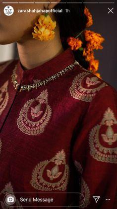 Zardosi Embroidery, Embroidery On Kurtis, Kurti Embroidery Design, Couture Embroidery, Beaded Embroidery, Saree Blouse Neck Designs, Kurti Neck Designs, Dress Neck Designs, Sleeve Designs