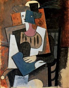 "Pablo Picasso - ""Woman with feather hat sitting in a chair"". 1919"