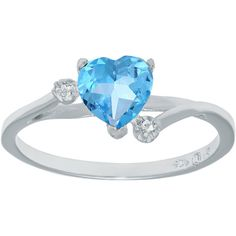 Genuine Blue and White Topaz Sterling Silver Heart-Shaped Ring ($50) ❤ liked on Polyvore featuring jewelry, rings, topaz jewelry, heart ring, round ring, sterling silver jewelry and sterling silver jewellery