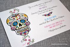 Dia de los muertos Day of the Dead Invitation Sample by PapelLindo