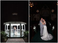 bride and groom at night in chapel and gazebo at whitestone inn