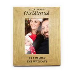 Personalised 6x4 Oak Finish Photo Frame - Our First Christmas Christmas Frames, First Christmas, Personalized Photo Frames, Personalized Items, Character Words, Secret Santa Gifts, It Is Finished, Messages, Products