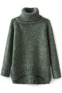 Loose Turtle Neck High-Low Heather Knit Sweater