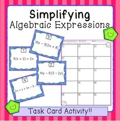 Great activity for Scoot! Place the 30 task cards around the room. Students move from problem to problem, copying the expressions and simplifying them. Writing Expressions, Equivalent Expressions, Math Tutor, Teaching Math, Teaching Ideas, Math Literacy, Math Classroom, Classroom Decor, Simplifying Algebraic Expressions