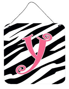 Letter Y Initial Zebra Stripe and Pink Wall or Door Hanging Prints