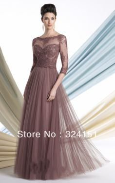 Mother of The Bride Dress Picture - More Detailed Picture about Soft illusion A line gown three quarter length sleeves scalloped lace bateau mother bride dresses Picture in Mother of the Bride Dresses from Suzhou Vicky-Ben Apparel Co. Mob Dresses, Bridesmaid Dresses, Formal Dresses, Wedding Dresses, Lace Dresses, Dresses 2013, Halter Dresses, Bohemian Dresses, Sleeve Dresses