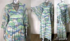 AIRBRUSH COLOR VINTAGE 1970S ANGEL SLEEVE TIE-BACK MAXI DRESS
