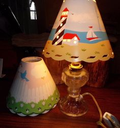 Multi Shade Hurricane Electric Lamp with 4 Seasonal Shades Vintage