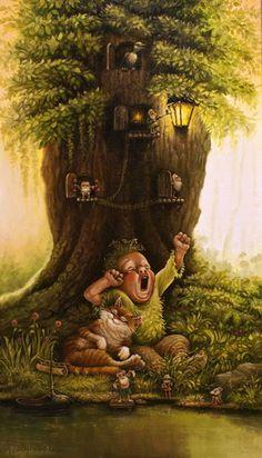 Art of Alexander Maskaev Enchanted Fairies, Russian Art, Funny Art, Whimsical Art, Cute Illustration, Faeries, Cat Art, Photo Art, Illustrators