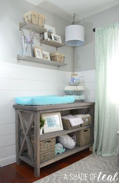 Rustic Glam Nursery {One Room Challenge}, The Reveal | A Shade Of Teal Baby Bookshelf, Baby Room Shelves, Baby Room Storage, Nursery Shelving, Rustic Bookshelf, Table Shelves, Corner Shelves, Shelf Desk, Storage Ideas For Nursery