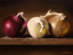 Oil painting of onions