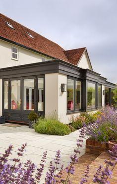 Orangery Extension and Loggia in Westbury Black - Westbury Garden Rooms