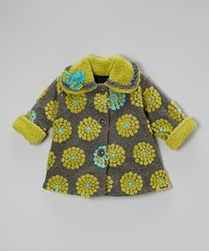 Take a look at this Gray & Green On the Dot Sweet Pea Coat - Toddler & Girls by Corky & Company on #zulily today!
