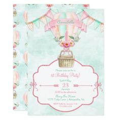 251 best watercolor birthday invitations images on pinterest hot air balloon first birthday pink mint peach invitation stopboris Image collections