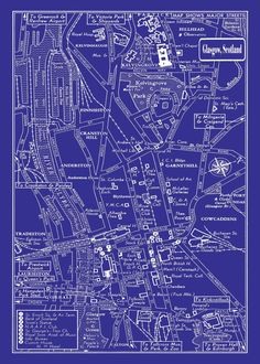 Want this for living rooM!1949 Vintage Map of Downtown Glasgow Scotland by seashoreprints, $29.95