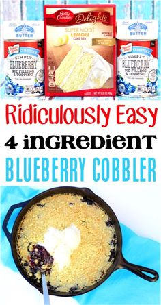 Blueberry Cobbler With Cake Mix Easy Recipes! Pie fillings and lemon crumble make a delicious homemade dump cake for dessert table ideas! Thanksgiving Desserts Easy, Spring Desserts, Desserts For A Crowd, Autumn Desserts, Blueberry Crumble, Blueberry Cake, Blueberry Recipes, Lemon Recipes, Easy Recipes